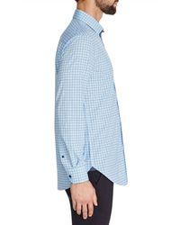 W.r.k. Blue Trim Fit Grid Performance Dress Shirt for men