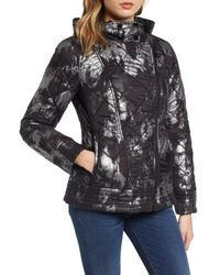 Guess - Black Reversible Packable Asymmetrical Quilted Jacket - Lyst