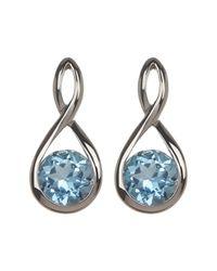 Liberty - Metallic Sterling Silver Blue Topaz Infinity Post Earrings - Lyst