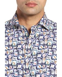 Bugatchi Blue Animal Photo Collage Classic Fit Sport Shirt for men