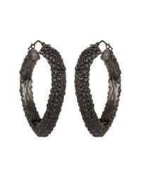 Roberto Coin - Metallic Oxidized Sterling Silver Stingray Hoop Earrings - Lyst