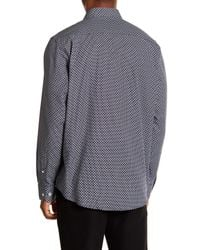 Bugatchi Blue Microdot Long Sleeve Classic Fit Shirt for men