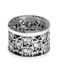 King Baby Studio | White Sterling Silver Cz Heart Patterned Ring | Lyst