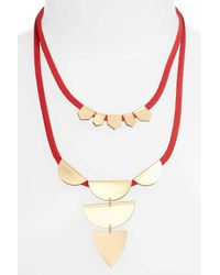 Sandy Hyun - Red Double Layer Pendant Necklace - Lyst