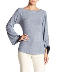 Bobeau - Blue Tie Ruched Sleeve Sweater - Lyst