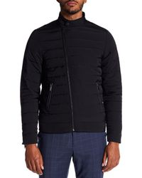 Scotch & Soda Black Quilted Front Zip Down Jacket for men