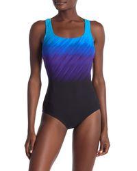 Reebok - Blue Wind Blown One-piece Swimsuit - Lyst