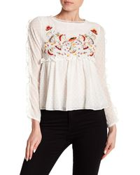 Haute Rogue - White Embroidered Clip Dot Top - Lyst