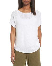 Eileen Fisher - White Organic Linen & Cotton Knit Top - Lyst