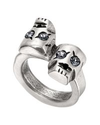 Uno De 50 Gray Are You Talking To Me? Swarovski Crystal Accented Skull Ring