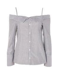 TOPSHOP Gray Bardot Stripe Shirt