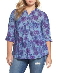 Lucky Brand - Blue Floral Print Chambray Top - Lyst