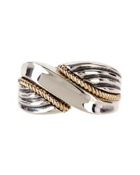 Liberty | Metallic 14k Yellow Gold & Sterling Silver Rope Ring | Lyst