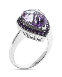 Liberty - Metallic Sterling Silver Rose De France And Amethyst Accent Ring - Lyst