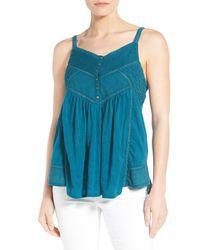 Lucky Brand - Blue Lace Trim V-neck Jacquard Camisole - Lyst