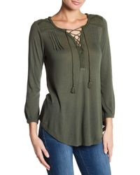 Lucky Brand | Green Lace-up Peasant Blouse | Lyst