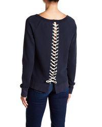 Pam & Gela Blue Lace-up Back Sweatshirt