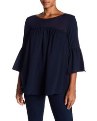 French Connection - Blue Polly Plains 3/4 Sleeve Blouse - Lyst