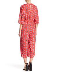 19 Cooper - Red Kimono Sleeve Mock Wrap Jumpsuit - Lyst