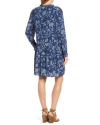 Caslon - Blue Caslon Ruffle Split Neck Dress - Lyst