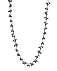 Adornia - Sterling Silver Cluster Black Spinel Beaded Necklace - Lyst
