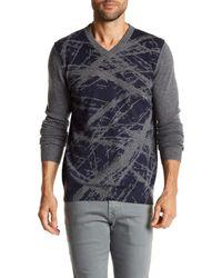 Autumn Cashmere Blue Paint Scratch Print Cashmere Sweater for men