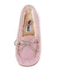 Minnetonka Pink Blush Faux Fur Moccasin (women)