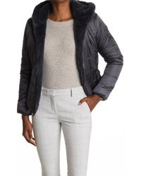 Save The Duck Gray Faux Fur Reversible Puffer Jacket