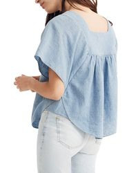 Madewell Blue Embroidered Denim Butterfly Top