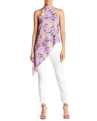 Romeo and Juliet Couture Multicolor Floral Print Mock Neck Halter Top