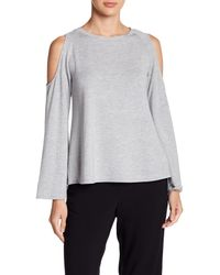 BB Dakota - Gray Long Sleeve Cold Shoulder Tee - Lyst