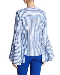MILLY Blue Ruthie Stripe Shirting Blouse