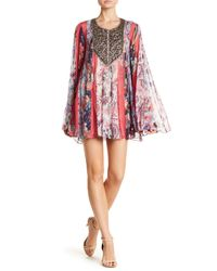 Haute Hippie Red Bead Detail Pattern Silk Dress