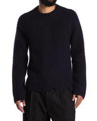 Maison Margiela Blue Distressed Knit Sweater for men