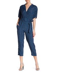 Dress Forum Blue Printed Wrap Jumpsuit