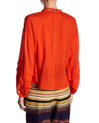Free People Red Heart Of Gold Embellished Blouse