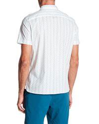 Perry Ellis White Geometric Short Sleeve Stretch Fit Shirt for men