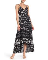 Love Stitch Black Paisley Floral Maxi Dress