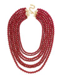 BaubleBar - Red 'bold' Multistrand Beaded Statement Necklace - Lyst