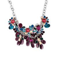 Swarovski - Blue Cardinal Rhodium Plated Bib Silhouette Chain Necklace - Lyst