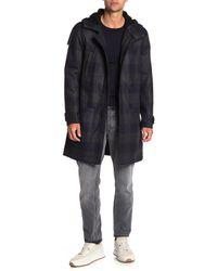 Vince Blue Plaid Faux Shearling Trim Duffle Coat for men