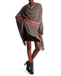 Saachi - Black Herringbone Pattern Wool Blend Wrap - Lyst