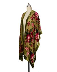 Saachi - Green Olive Floral Velvet Kimono - Lyst