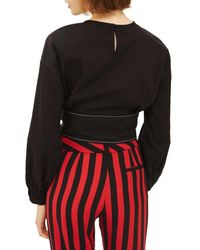 TOPSHOP - Black Balloon Sleeve Tie Top - Lyst