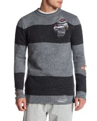 Topman - Gray Stripe Distressed Sweater for Men - Lyst