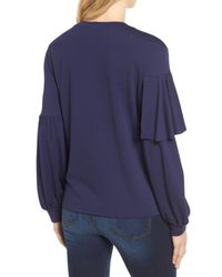 Halogen - Blue Asymmetrical Knit Top - Lyst