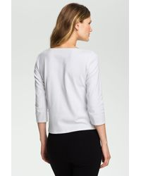 Eileen Fisher White Ballet Neck Three Quarter Sleeve Top