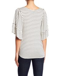 Bobeau - White Stripe Flounce Sleeve Shirt - Lyst