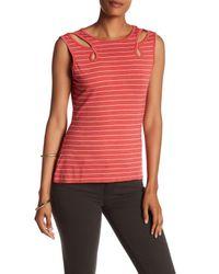 Max Studio Red Striped Cutout Knit Tee