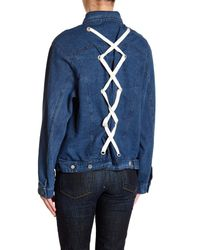 Lush Blue Back Lace Up Denim Jacket